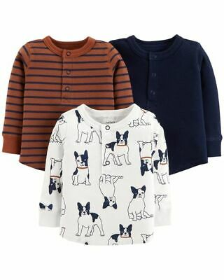 Carters Baby Boy 3-Pack Long Sleeve Tees Set French Bulldog Dog 12 18 24 Months