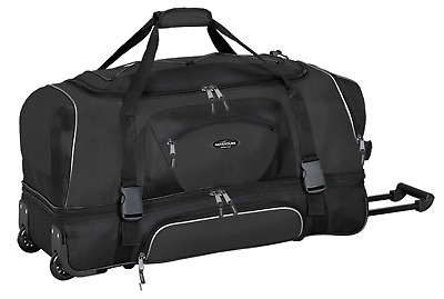 "Travelers Club 30"" ADVENTURE Double Packing Compartment Rolling Duffel, Black..."
