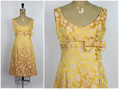 75bc0f67dc43 VINTAGE 1950'S 60'S Gold & Blue Rayon & Brocade Cocktail Dress Size ...