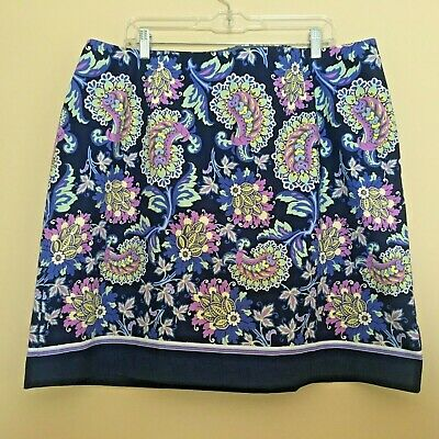 4a00e887be NWT Talbots 18W Floral Paisley Blue Purple Stretch Cotton Pencil Skirt 18W  2X
