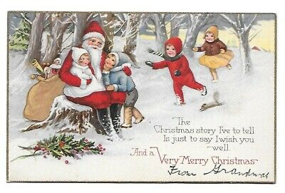 Antique Christmas Postcard ~ Santa, Snowy Forest, Sack of Toys, Children, Holly