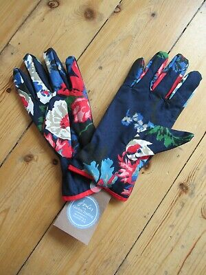 Joules And Garden Trading Blue Floral  One Size Lined Gardening Gloves