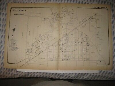 Vintage Antique 1917 St Saint James Suffolk County New York Map Detailed Rare Nr
