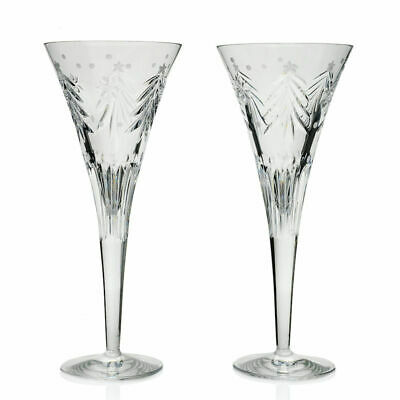 Waterford Crystal Christmas Nights Set of 2 (8 oz) Wedge Cut Footed Flutes