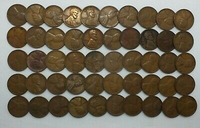 1938-S 1C Cent Penny Lincoln Wheat Full Roll 50 Coins +Tube San Francisco LE788