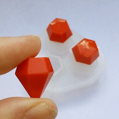 Clear silicone resin mold faceted gemstone diamond shape jewelry crafts DIY