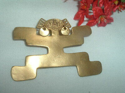 Vintage Gold Plated PRE-Columbian COLOMBIA FERTILITY Pin Pendant in Gift Box