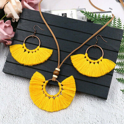 Fringed Necklace Earrings Set Woven Multilayer Fabric Yarn Women's Long Necklace