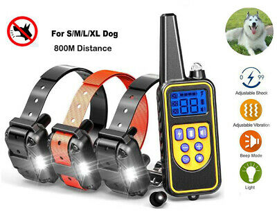 Rechargeable LCD Pet Remote Control Vibrate Trainer Dog Collar 800M B Waterproof