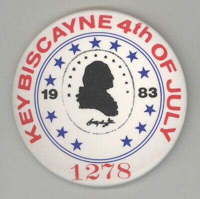 1983 KEY BISCAYNE FLORIDA Button PINBACK Pin BADGE 4th of July MIAMI Beach FL