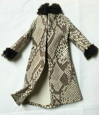 """Barbie Faux SNAKE SKIN Doll Clothing Long Coat """"Fur"""" Collar Brown Scale"""