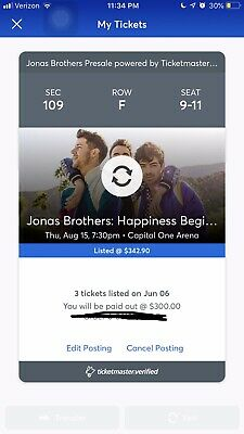 Jonas Brothers Concert For August 15th 2019 Washington DC - 3 Tickets
