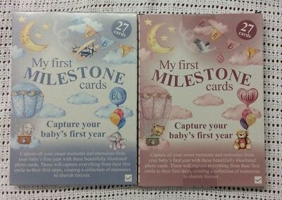 BNIB Cute Baby My First Milestone Cards Gift Shower Nursery Pictures Pink Girl