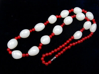 White Jade Beads Crafted Tibetan Tribal Necklace #02011810