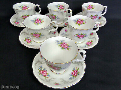 6 TRANQUILITY TEA CUPS & SAUCERS, 1st QUALITY, GC, 1969-2001, ROYAL ALBERT
