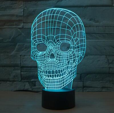 YKMY Scary Skull 3D Illusion Lampada LED Night Light con 7 Colori Lampeggiante