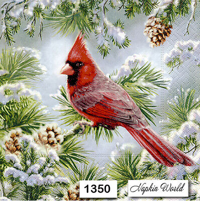 (1350) TWO Individual Paper Luncheon Decoupage Napkins - CARDINAL BIRD WINTER