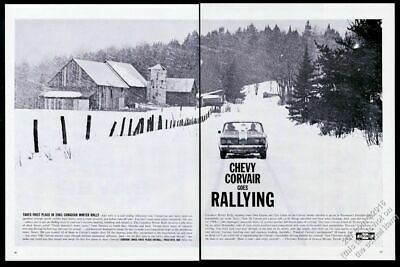 1961 Chevrolet Corvair car in snow photo Canadian Winter Rally vintage print ad