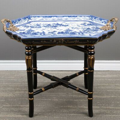 NEW BLUE WILLOW PORCELAIN TRAY TABLE ON BLACK WOOD STAND bronze handles