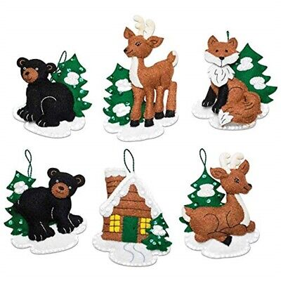 Bucilla Felt Ornaments Applique Kit Set Of 6-santa's Black Bear Cabin