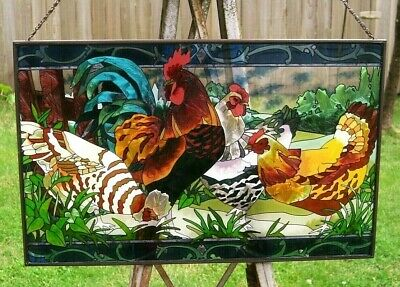 """Vintage Large 10"""" x 16"""" Stained Glass Window Suncatcher Chicken Rooster Farm"""