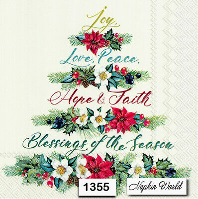 (1355) TWO Individual Paper Luncheon Decoupage Napkins - CHRISTMAS TREE SCRIPT
