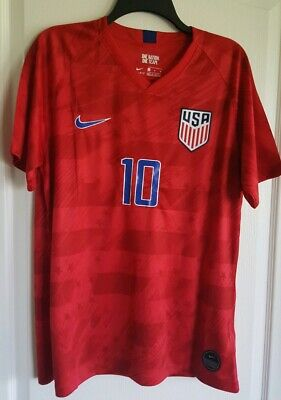 755dfd5f5 Christian Pulisic #10 2019 Gold Cup Nike USA Men's Away Soccer Jersey Red  Large