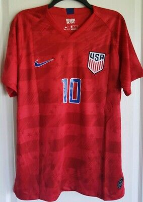 e3406ce9f18 Christian Pulisic #10 2019 Gold Cup Nike USA Men's Away Soccer Jersey Red -  XL