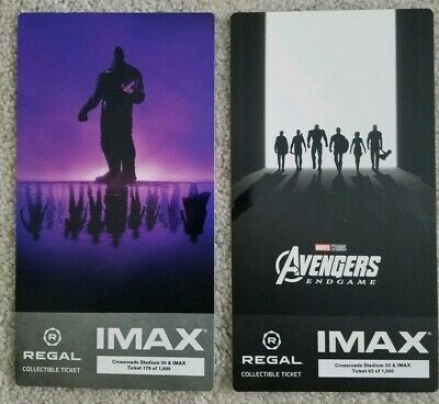Avengers Endgame (2019) Week 1 & 2, IMAX Regal Collectible Movie tickets