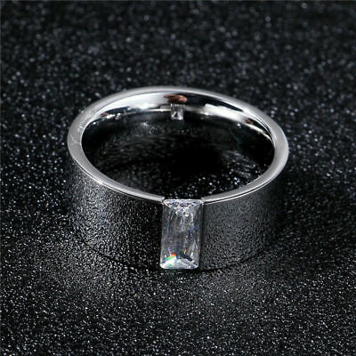 Neutral 316L Stainless Steel 8mm Smooth Single CZ Band Silver Ring Jewelry