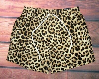 d8cf9a9e3d Mens Forever 21 Leopard Animal Print Drawstring Lined Swim Board Shorts Size  Xl