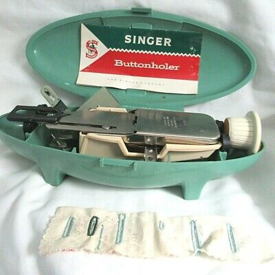 Vtg SINGER BUTTONHOLER sewing attachment w/green case, accessories Stylist 834