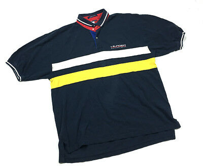 71ff5161d316 Tommy Hilfiger Sailing Gear Striped Polo Shirt Navy Blue Yellow White Men's  2XL