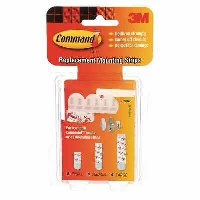 Command Refill Strips, White, 8 Small, 4 Medium, 4 Large/Pack