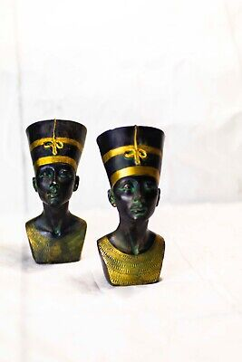 Small Queen Nefertiti Ruler of the Nile Egyptian Royal Sculpture Bust Statue 2x