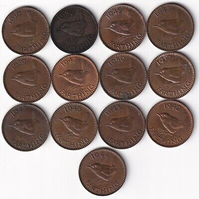 Thirteen One Farthing Coins - George Vi