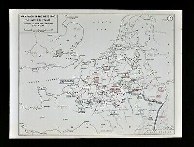 West Point WWII Map - Battle or Fall of France Defense of Paris German Invasion