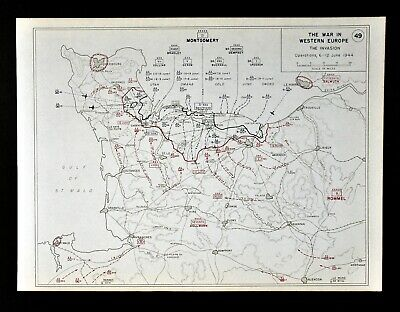 West Point WWII Map 5th Corps D-Day Invasion Omaha Utah Beach Montgomery Bradley