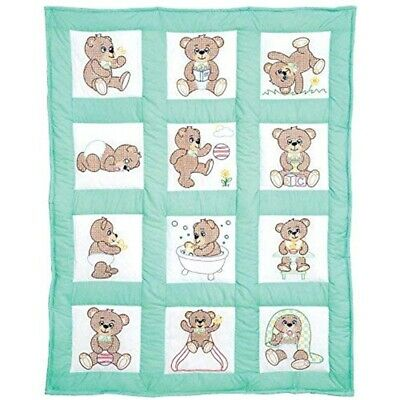 Jack Dempsey Cotton Blend Stamped White Nursery Quilt Blocks 9-inch x -