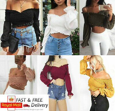 d4c93362f6a Womens Ladies Shirred Ruched Frill Ruffle Wrap Cross Over Bardot Smoked Crop  Top
