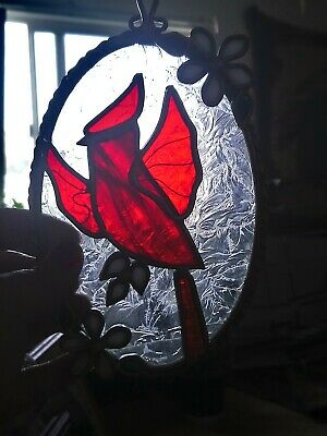Vintage Stained Glass Sun Catcher Window Hanging Red Cardinal Flowers medium