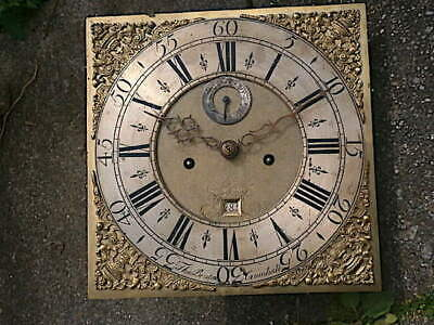 C1740  8 day LONGCASE GRANDFATHER CLOCK DIAL+movement 12X 12     THO BRUTON of C