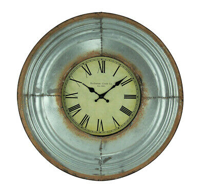 Galvanized Metal Rustic Beveled Frame Round Wall Clock