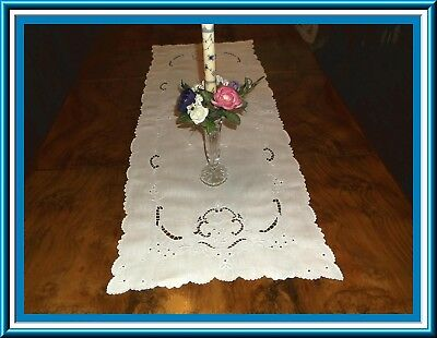 Gorgeous Madeira Embroidered Linen Table Runner With Cutwork  - 42 Inches