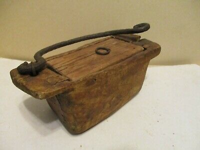 Ancient Asian food box (?) with forged iron handle
