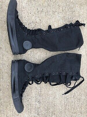 Converse Tall Knee Hi BLACK shoes boots Unisex Lace up Zip Womens 8 Mens 6 GOTH