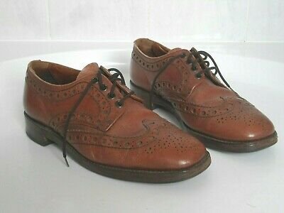 Vintage 60S Handmade Real Leather Quality Findlaters Of Aberdeen Brogue Shoes 7