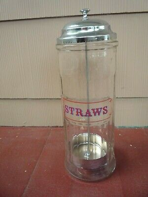 Retro Old Style Straw Holder Dispenser Glass Metal Lifter Soda Fountain Bar