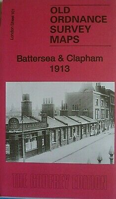 OLD ORDNANCE SURVEY MAPS BATTERSEA & CLAPHAM  LONDON 1913 Godfrey Edition New