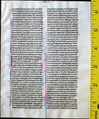 Early ca.1250 Bible manuscript leaf in Latin on very fine vellum,Numbers 18-21